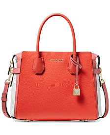 MICHAEL Michael Kors Mercer Belted Tricolor Pebble Leather Satchel