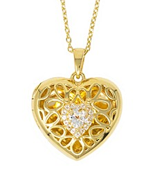 Katherine White Topaz (1/2 ct. t.w) Photo Locket Necklace in 14k Gold over Sterling Silver (Also Available in 14k Rose Gold over Sterling Silver