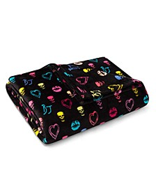 Betsey Signature Black Plush Throw