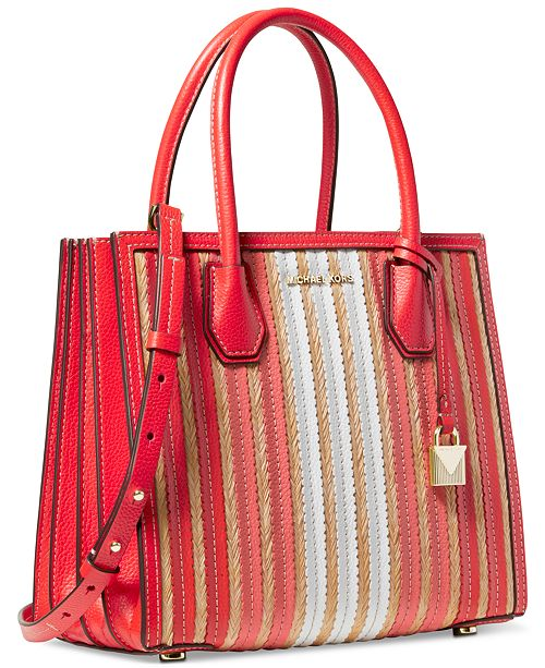 Michael Kors Mercer Accordion Leather & Straw Tote
