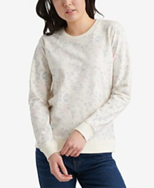 Lucky Brand Cotton Floral-Print Crew Pullover Sweatshirt