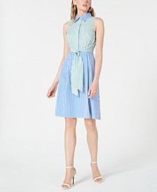 Cotton Colorblocked Shirtdress