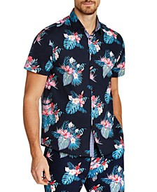 Men's Slim-Fit Stretch Hawaiian Floral Short Sleeve Shirt