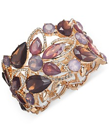 I.N.C. Gold-Tone Stone & Crystal Openwork Stretch Bracelet, Created for Macy's