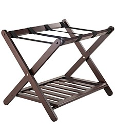Remy Luggage Rack with Shelf In Cappuccino