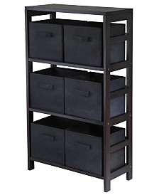 Winsome Capri 3-Section M Storage Shelf with 6 Foldable Fabric Baskets