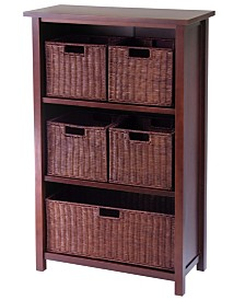 Winsome Milan 6-Pc Cabinet-Shelf and Baskets, Shelf, One Basket, 4 Small Baskets, 3 Cartons