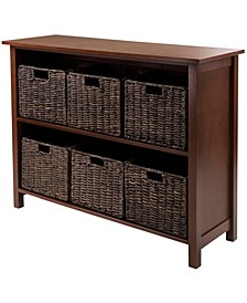 Granville 7-Pc Storage Shelf, 2-Section Wide with 6 Foldable Baskets