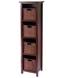Milan 5Pc Storage Shelf with Baskets, Cabinet and 4 Small Baskets, 3 Cartons