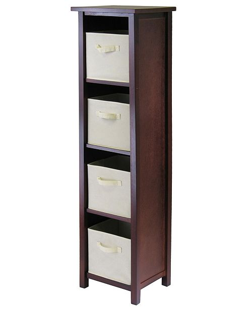 Winsome Verona 4-Section N Storage Shelf with 4 Foldable Beige Color Fabric Baskets