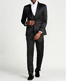 Men's Solid Sharskin 3-Piece Slim Fit Suit