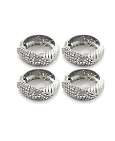 Set of 4 Jeweled Silver Napkin Rings