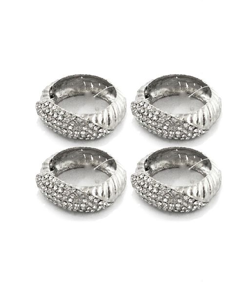Classic Touch Set of 4 Jeweled Silver Napkin Rings
