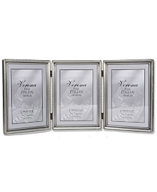 "Lawrence Frames Antique Pewter Hinged Triple Picture Frame - Bead Border Design - 5"" x 7"""