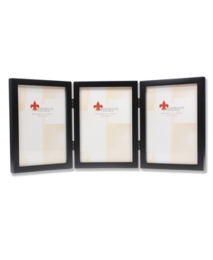 """Lawrence Frames Hinged Triple Black Wood Picture Frame - Gallery Collection - 5"""" x 7"""""""