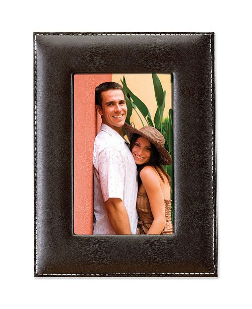 "Lawrence Frames Dark Brown Leather Picture Frame - 4"" x 6"""