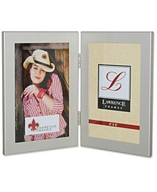 "Brushed Silver Hinged Double Metal Picture Frame - 4"" x 6"""