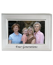 "Brushed Metal Four Generations Picture Frame - Sentiments Collection - 4"" x 6"""