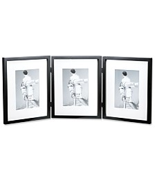 "Lawrence Frames Black Wood 8x10 Hinged Triple Picture Frame - Comes with Bevel Cut Mats For 5"" x 7"" Photos - 8"" x 7"""