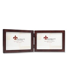 "755964D Espresso Wood Hinged Double Picture Frame - 6"" x 4"""