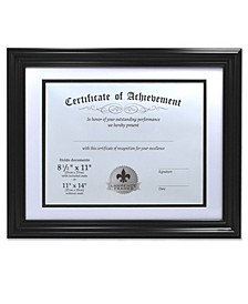 "Dual Use Black 11"" x 14"" Certificate Picture Frame with Double Bevel Cut Matting For Document - 8.5"" x 11"""