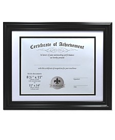 "Lawrence Frames Dual Use Black 11"" x 14"" Certificate Picture Frame with Double Bevel Cut Matting For Document - 8.5"" x 11"""