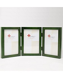 "Hinged Triple Green Wood Picture Frame - Gallery Collection - 4"" x 6"""