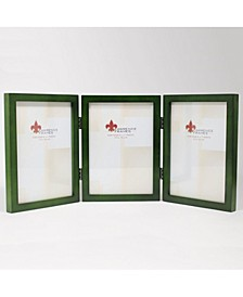 "Hinged Triple Green Wood Picture Frame - Gallery Collection - 5"" x 7"""