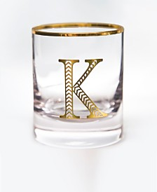 Qualia Glass Monogram Rim and Letter K Double Old Fashioned Glasses, Set Of 4