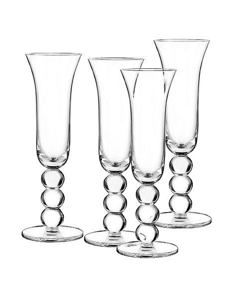 Qualia Glass Orbit Flutes, Set Of 4