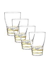 Qualia Glass Helix Gold Double Old Fashioned Glasses, Set Of 4
