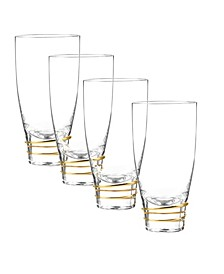 Helix Gold Highball Glasses, Set Of 4