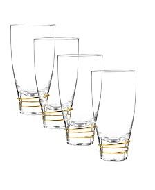 Qualia Glass Helix Gold Highball Glasses, Set Of 4