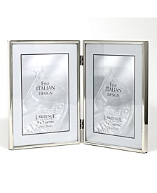 "Hinged Double Simply Silver Metal Picture Frame - 5"" x 7"""