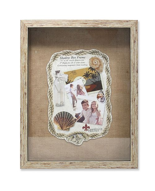 """Lawrence Frames Weathered Natural Front Hinged Shadow Box Frame - Burlap Display Board - 11"""" x 14"""""""