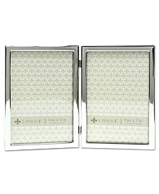 """Lawrence Frames Hinged Double Silver Standard Metal Picture Frame - 5"""" x 7"""""""