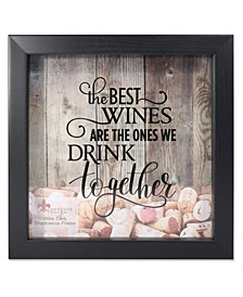 "Black Shadow Box Wine Cork Holder - 10"" x 10"""