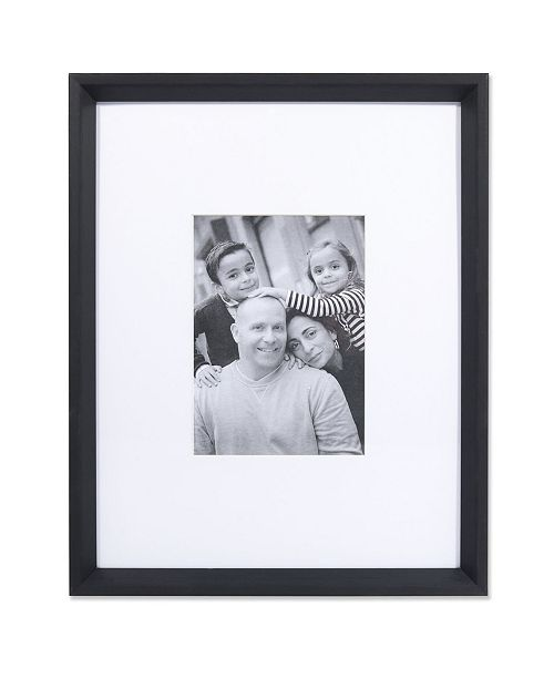 """Lawrence Frames Wide Border Matted Frame - Gallery Black 11"""" x 14"""" - 5"""" x 7"""""""