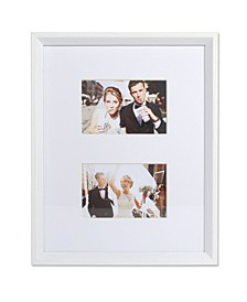 "Wide Border Double Matted Frame - Gallery White 11"" x 14"" - 4"" x 6"""