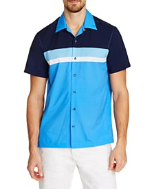 Tallia Men's Slim-Fit Performance Stretch Multi Striped Short Sleeve Camp Shirt