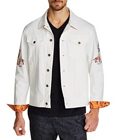 Tallia Men's Slim-Fit Stretch Dragon Trucker Jacket