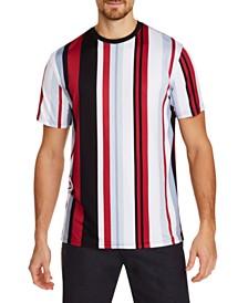 Tallia Men's Slim-Fit Comfort Stretch Multi Stripe Short Sleeve Crew T-Shirt