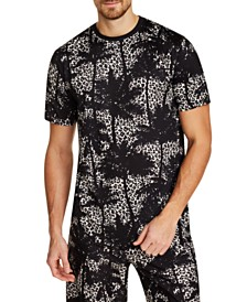 Tallia Men's Slim-Fit Comfort Stretch Palm Tree Leopard Short Sleeve Crew T-Shirt