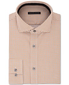 Men's Classic/Regular Fit Brown Print Dress Shirt