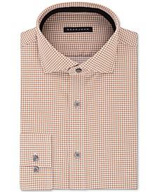 Men's Classic/Regular Fit Brown Print Dress Shirt