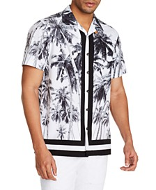 Tallia Men's Slim-Fit Performance Stretch Palm Tree Short Sleeve Camp Shirt