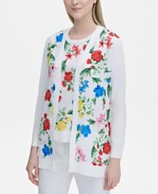 Calvin Klein Floral-Print Cardigan