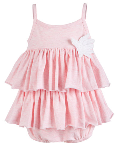 First Impressions Baby Girls Tiered Ruffle Skirted Cotton Romper, Created for Macy's