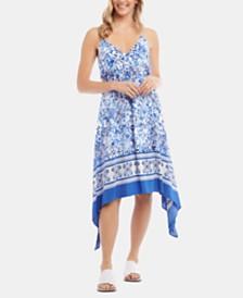 Karen Kane Printed Handkerchief-Hem Dress