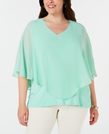JM Collection Plus Size Chiffon Overlay Top, Created for Macy's
